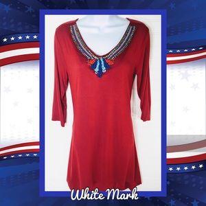 👚 White Mark Beaded Tunic